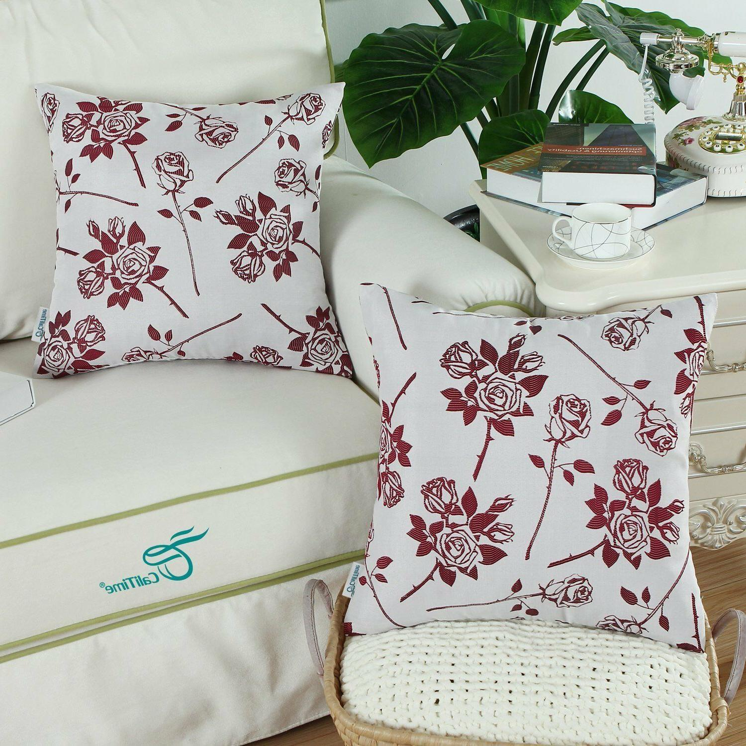 Pack of 2, Cushion Throw Cases 18 X Roses