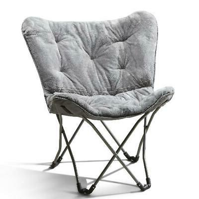 Folding Butterfly Chair Lounge Faux Fur Collapsible Steel Fr