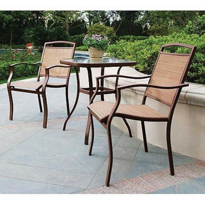 Patio Bistro Table And Chairs Set Outdoor Furniture 3-Piece