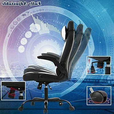 PC Gaming Chair Office Lumbar Support Arms PU