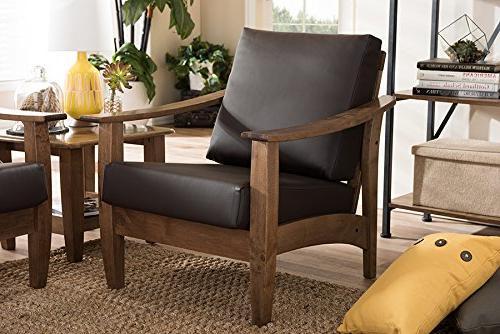 Baxton Studio Pierce Faux Leather Dark Brown