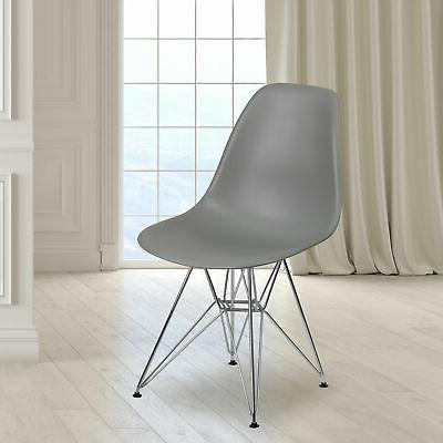 Plastic Accent Dining Chair with Chrome Base