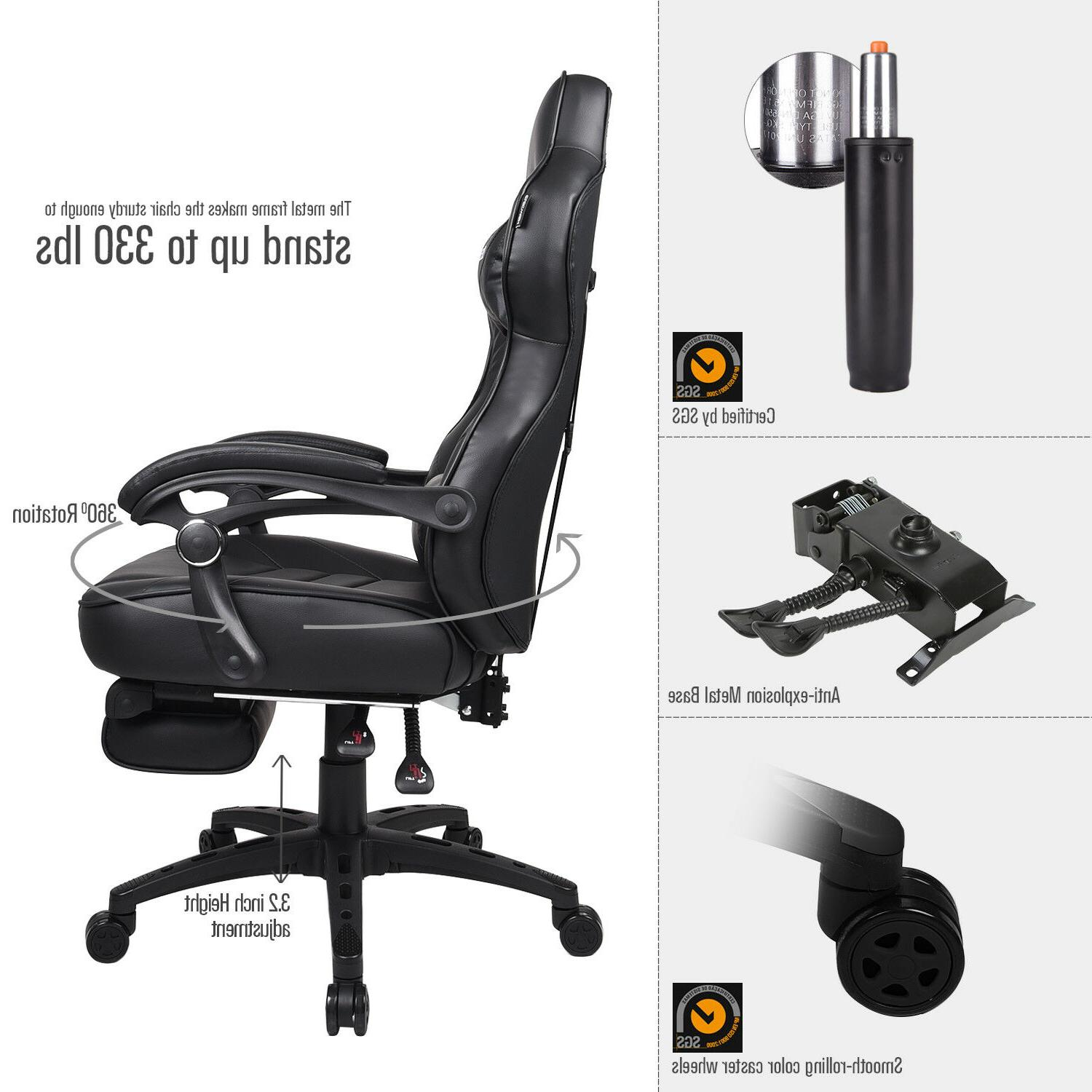 Racing Gaming Leather Swivel Office Desk Seat