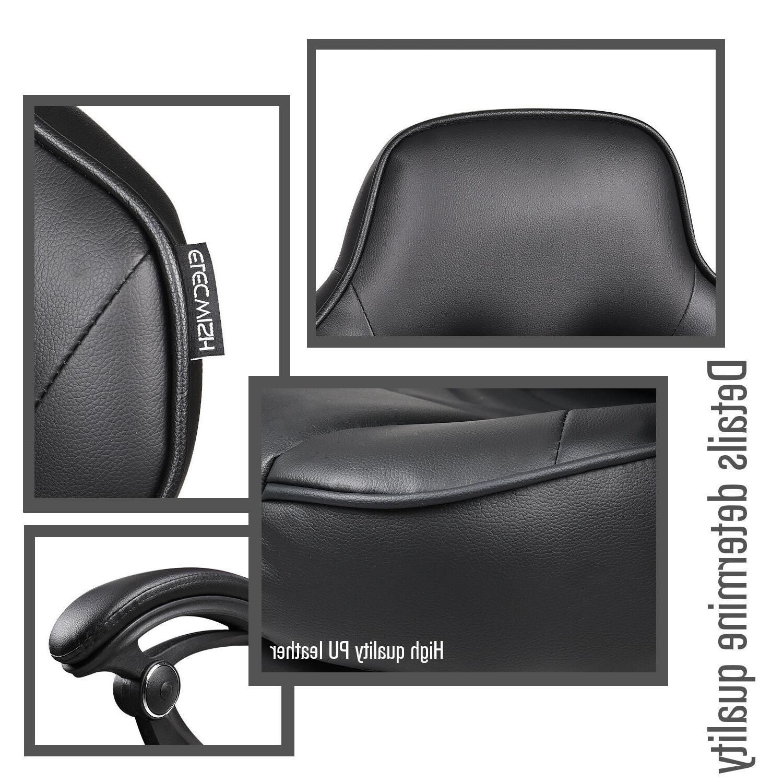Racing Leather Swivel Office Computer Desk Footrest