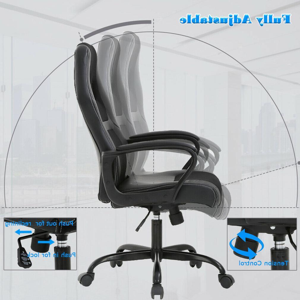 Desk Ergonomic Leather Chair w Metal Base V61