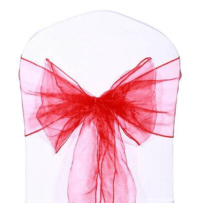 red pack of 100 organza sashes chair