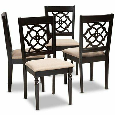 renaud sand espresso brown finished wood dining