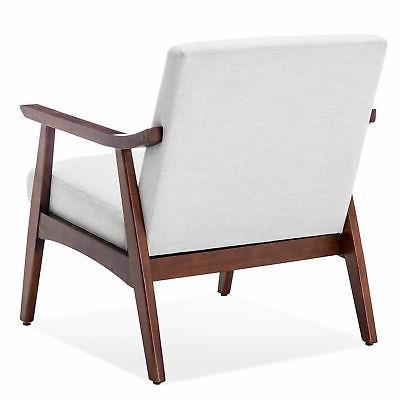 Retro Chair Upholstered Wood Armchair, Light