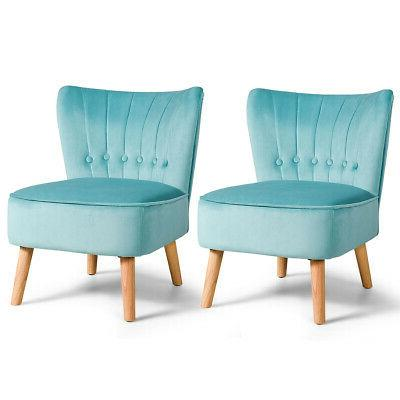 set of 2 accent chair tufted velvet