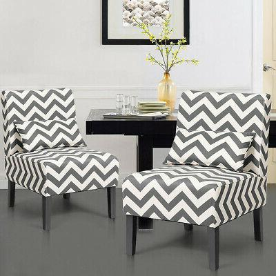 Accent Chair Living Room Chair with Pillow Gray Chevron