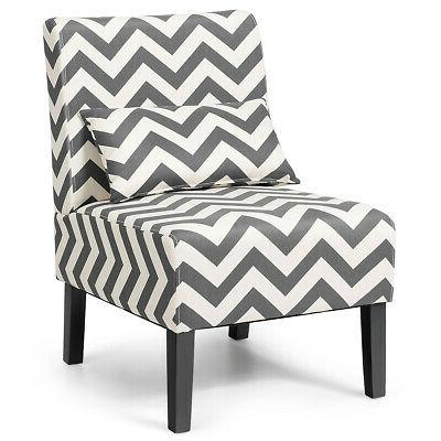 Set Accent Chair Room Chair with Lumbar Gray Chevron