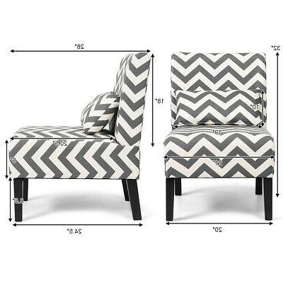 Set Armless Accent Room Chair with Lumbar Gray Chevron