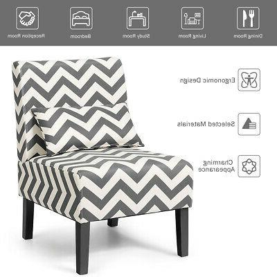Set of Accent Chair Living Chair Gray Chevron