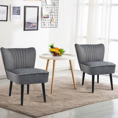 Set of 2 Armless Accent Upholstered Chair Sofa Grey
