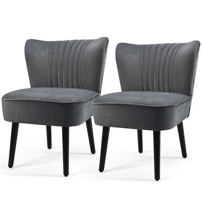 set of 2 armless accent chair upholstered