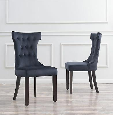 Set of 2 Chair Tufted Black