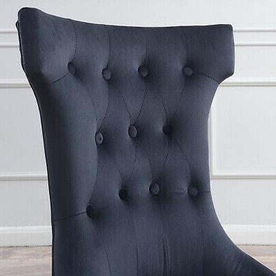 Set Chair Fabric Elegant Armless Chairs, Black