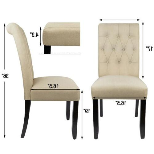 Set Fabric Dining Upholstered Button Wood Legs