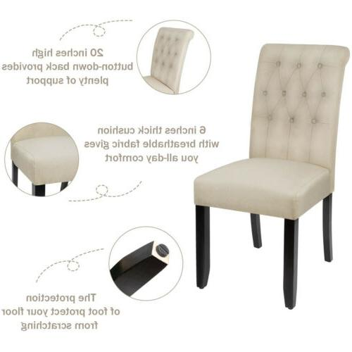Set of Fabric Side Upholstered Button Tufted Legs