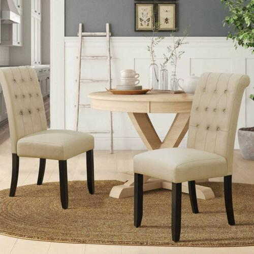 Set Fabric Dining Chairs Upholstered Legs