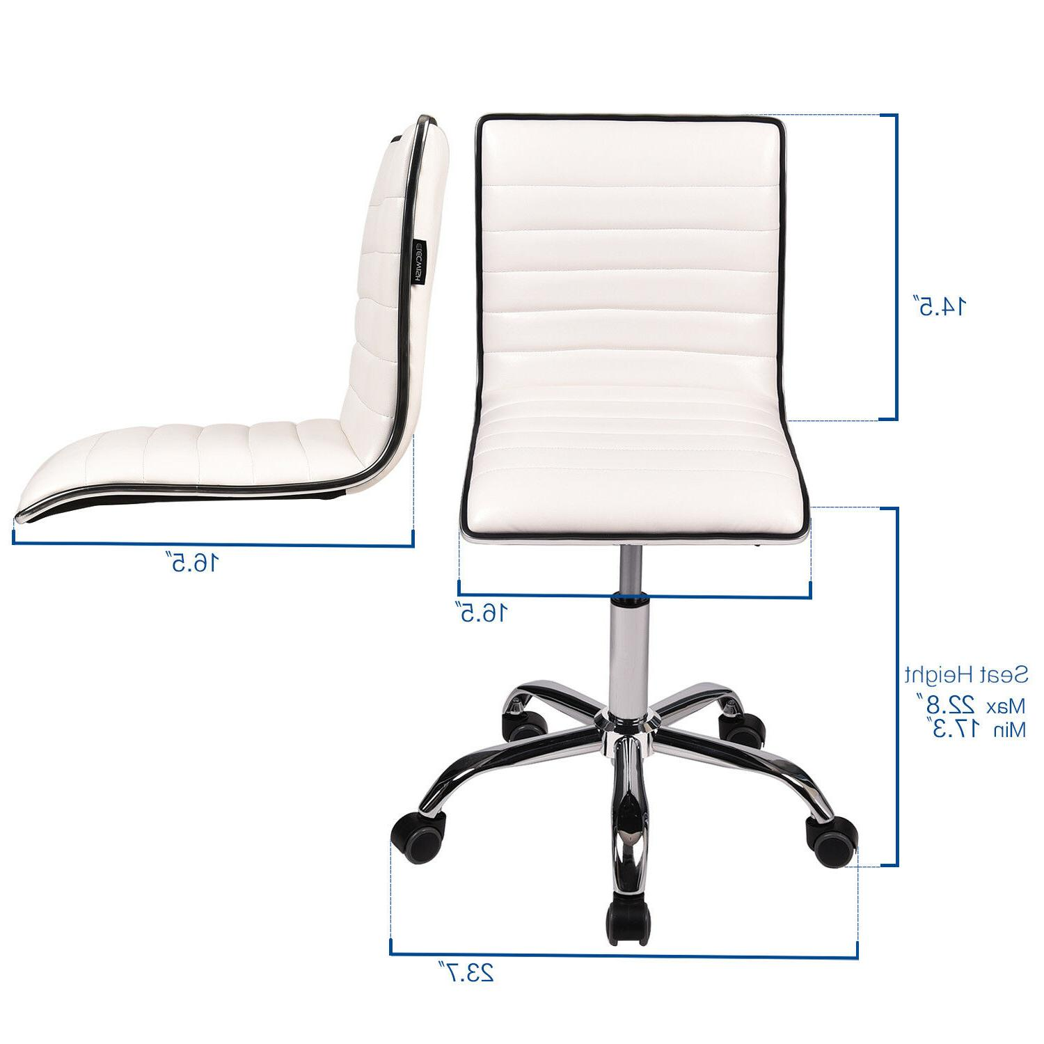 Office Executive Rolling Stool Back Seat Leather