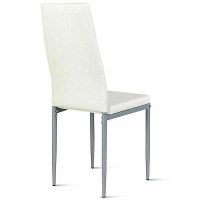 Set Style Leather Chairs Iron Legs Chair White