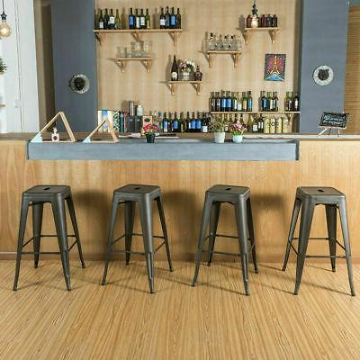 Set of 4 inch Metal Barstools Stackable Cafe Counter Stool