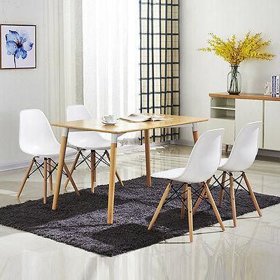 COSTWAY Set Dining Side Legs White