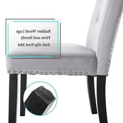 Set 6 Elegant Fabric Dining Chairs Velvet Upholstered US