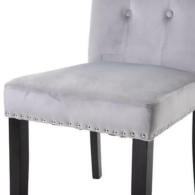 Set Elegant Fabric Dining Chairs Velvet US
