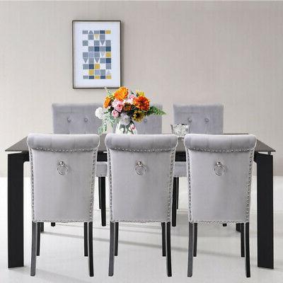 set of 6 elegant fabric dining chairs