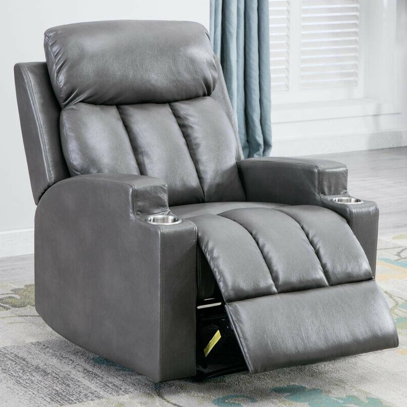 Single Manual Recliner Chair PU Leather Padded Armrest Seat