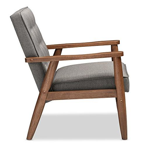 Baxton Retro Modern Fabric Wooden Lounge Grey
