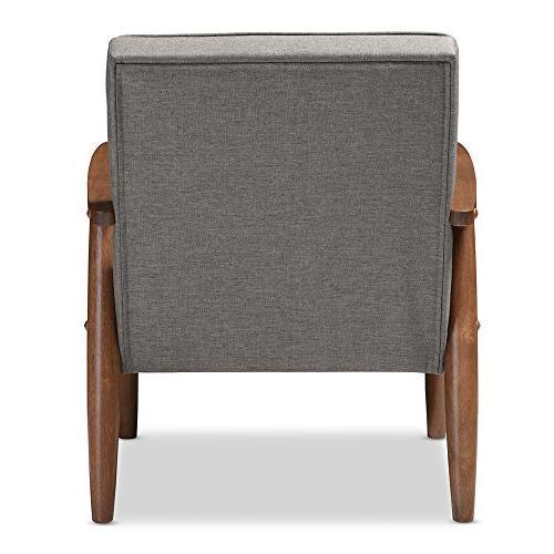 Baxton Retro Modern Wooden Lounge Chair, Grey