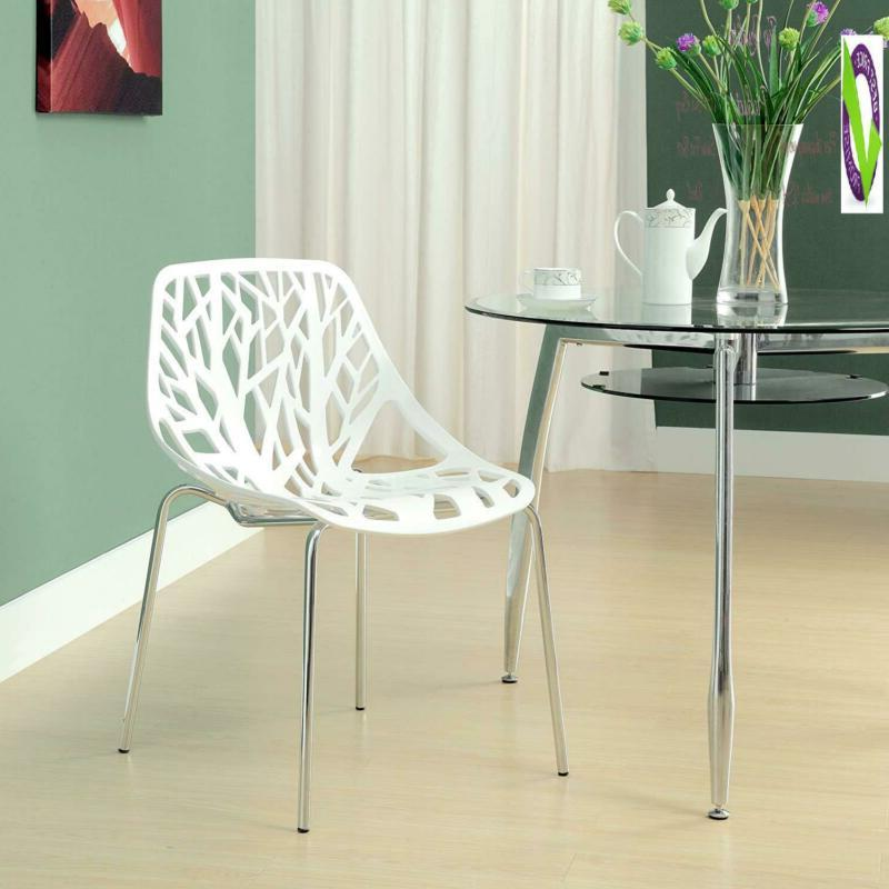 Modway Stencil Stackable Dining Side Chair In White
