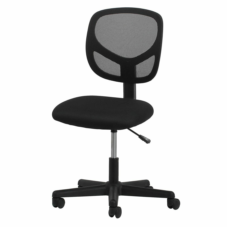 swivel armless mid back mesh task chair