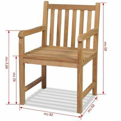 vidaXL Teak 2x Chair Wooden Patio Backyard