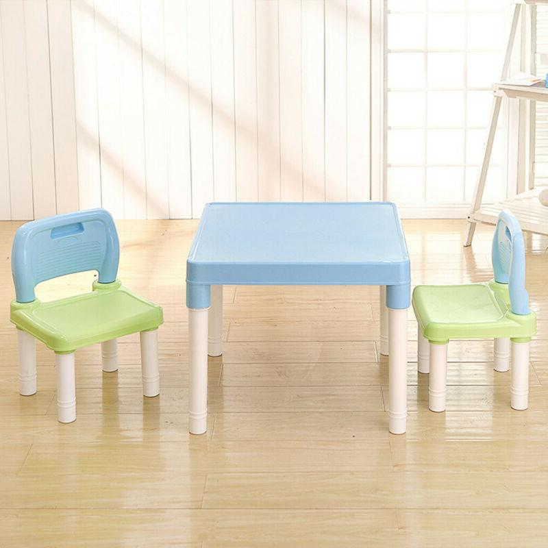 Plastic Kids Table And 2 Chairs Set For Boys Or Girls Toddle