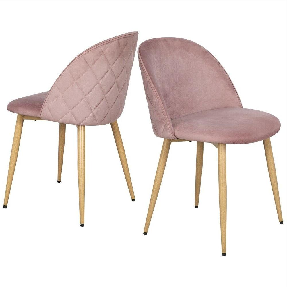 Velvet Fabric Dining Chairs Metal Legs of
