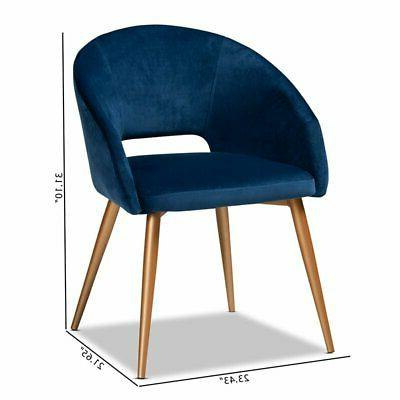 Baxton Blue Velvet Upholstered Dining Chair