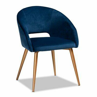 vianne navy blue velvet upholstered metal dining