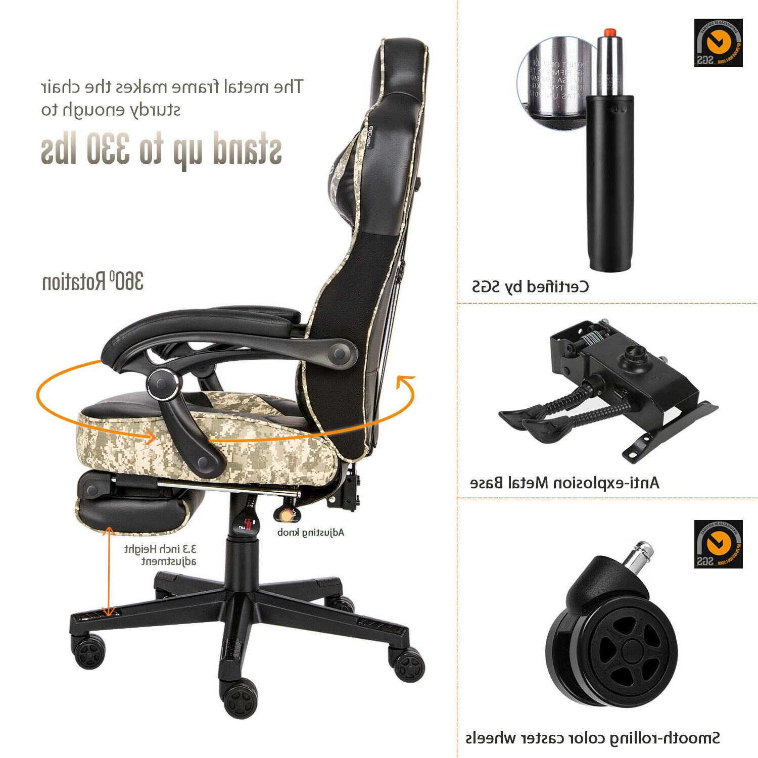 Massage Racing Office Desk Swivel Seat