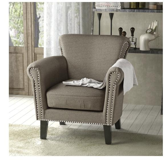 Vintage Arm Studded Fabric Club Chair Christopher Home