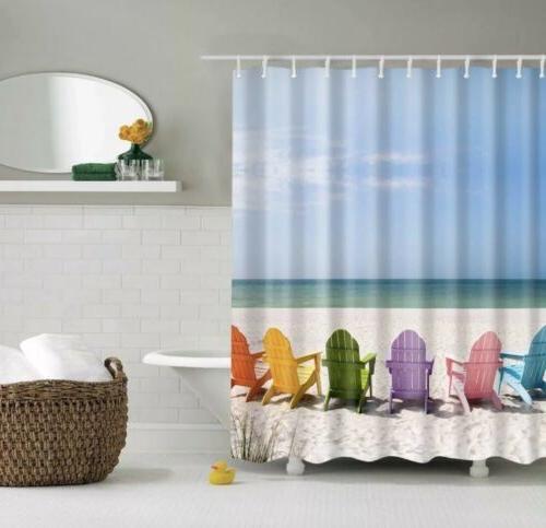 Wooden Chairs Beach Curtain x bath decor