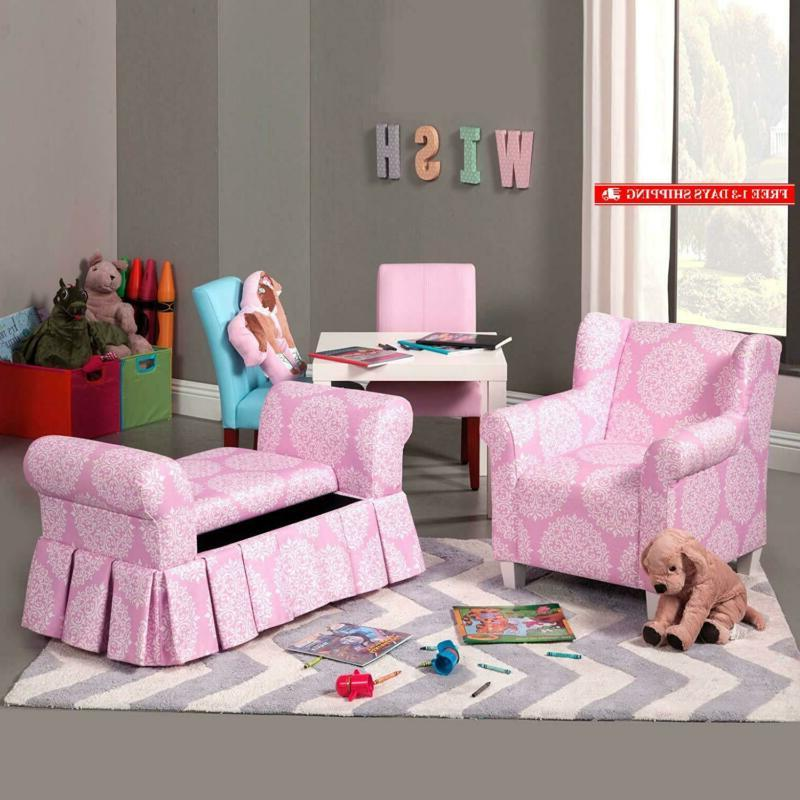 Homepop Youth Chair, Pink White Medallion