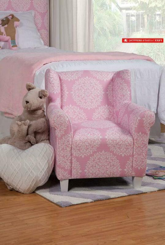Homepop Youth Upholstered Accent Chair, Pink Medallion
