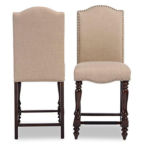 Baxton 2 Chic French Vintage Brown Linen Fabric Height Dining Chairs