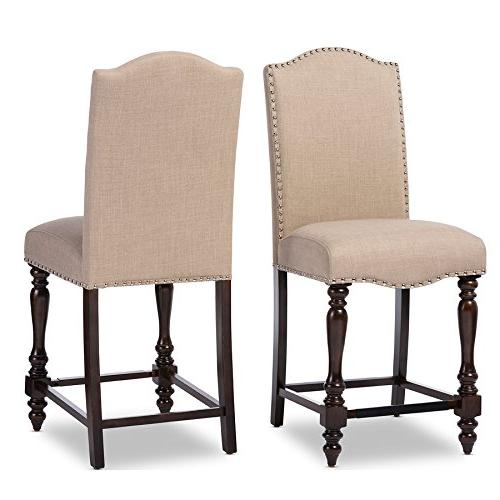 Baxton Studio Set of 2 Zachary Chic French Vintage Linen Fabric Counter Height Dining Chairs