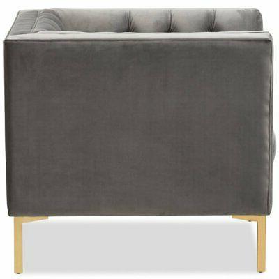 Baxton Zanetta Velvet Tufted Lounge Grey and
