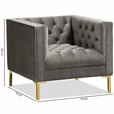 Baxton Velvet Tufted Lounge Chair in Grey and Gold